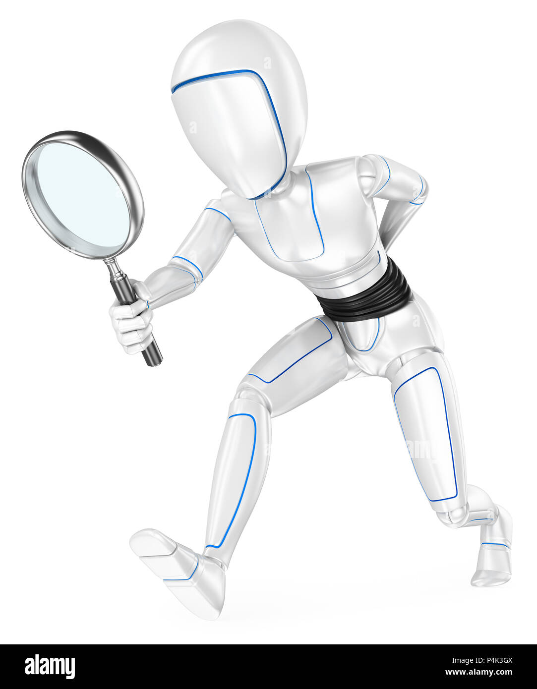 3d futuristic android illustration. Humanoid robot looking for with a magnifying glass. Isolated white background. - Stock Image