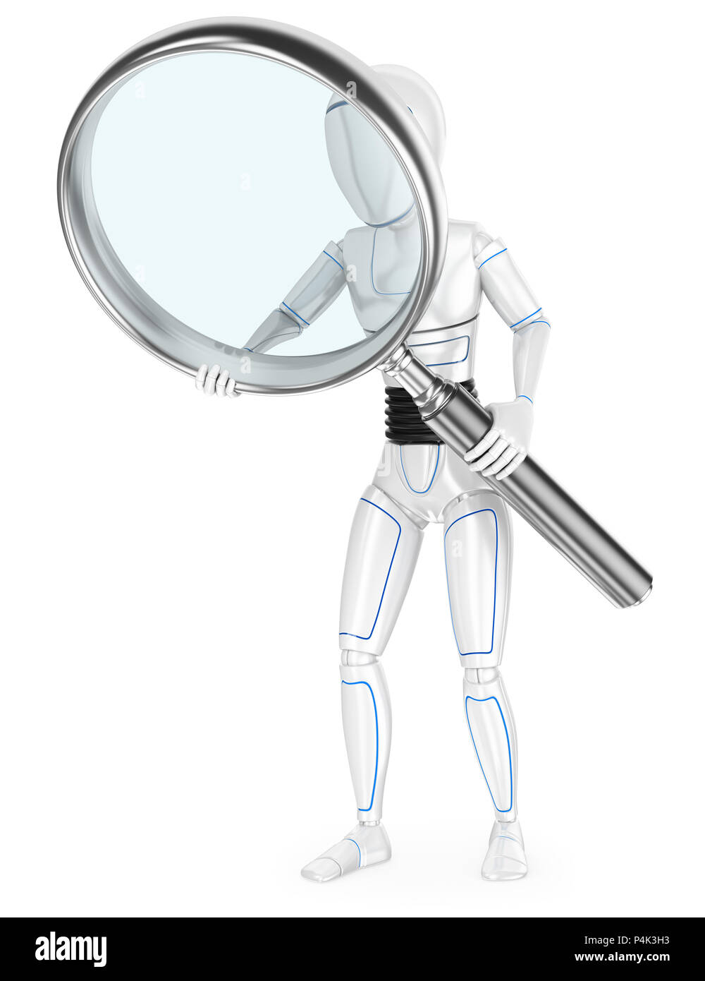3d futuristic android illustration. Humanoid robot with a huge magnifying glass. Isolated white background. - Stock Image