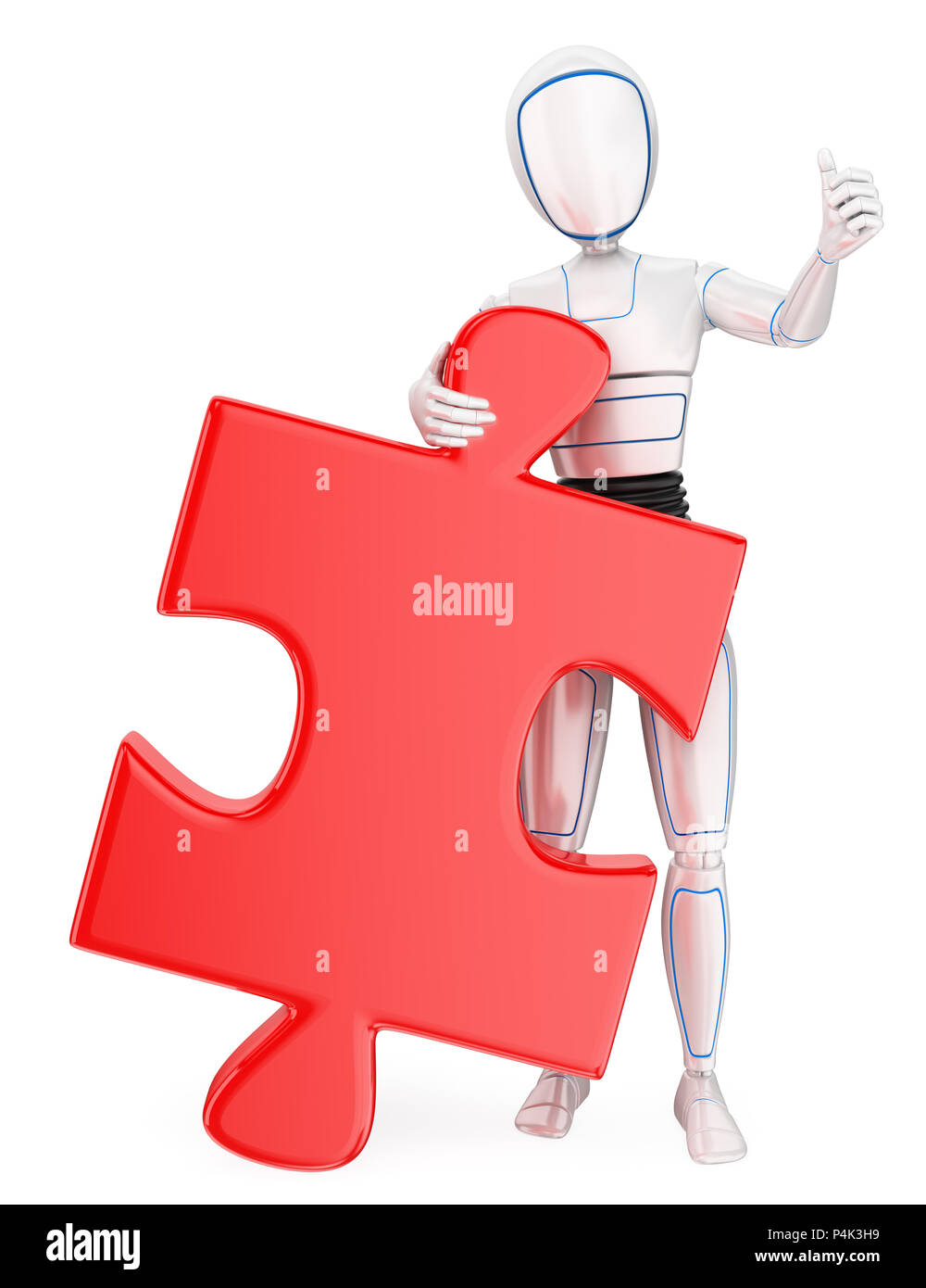 3d futuristic android illustration. Humanoid robot with a huge puzzle piece. Solution. Isolated white background. - Stock Image