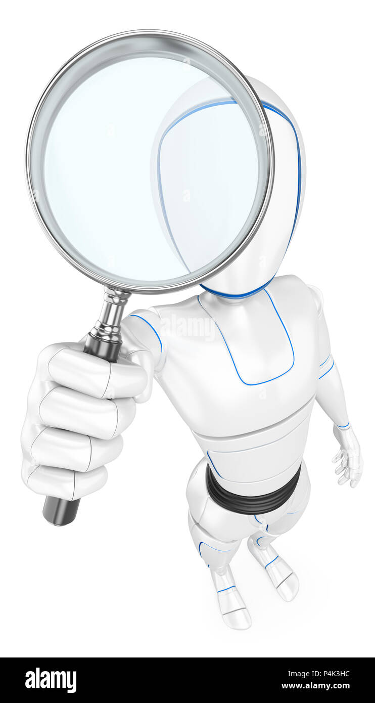 3d futuristic android illustration. Humanoid robot with a magnifying glass. Isolated white background. - Stock Image
