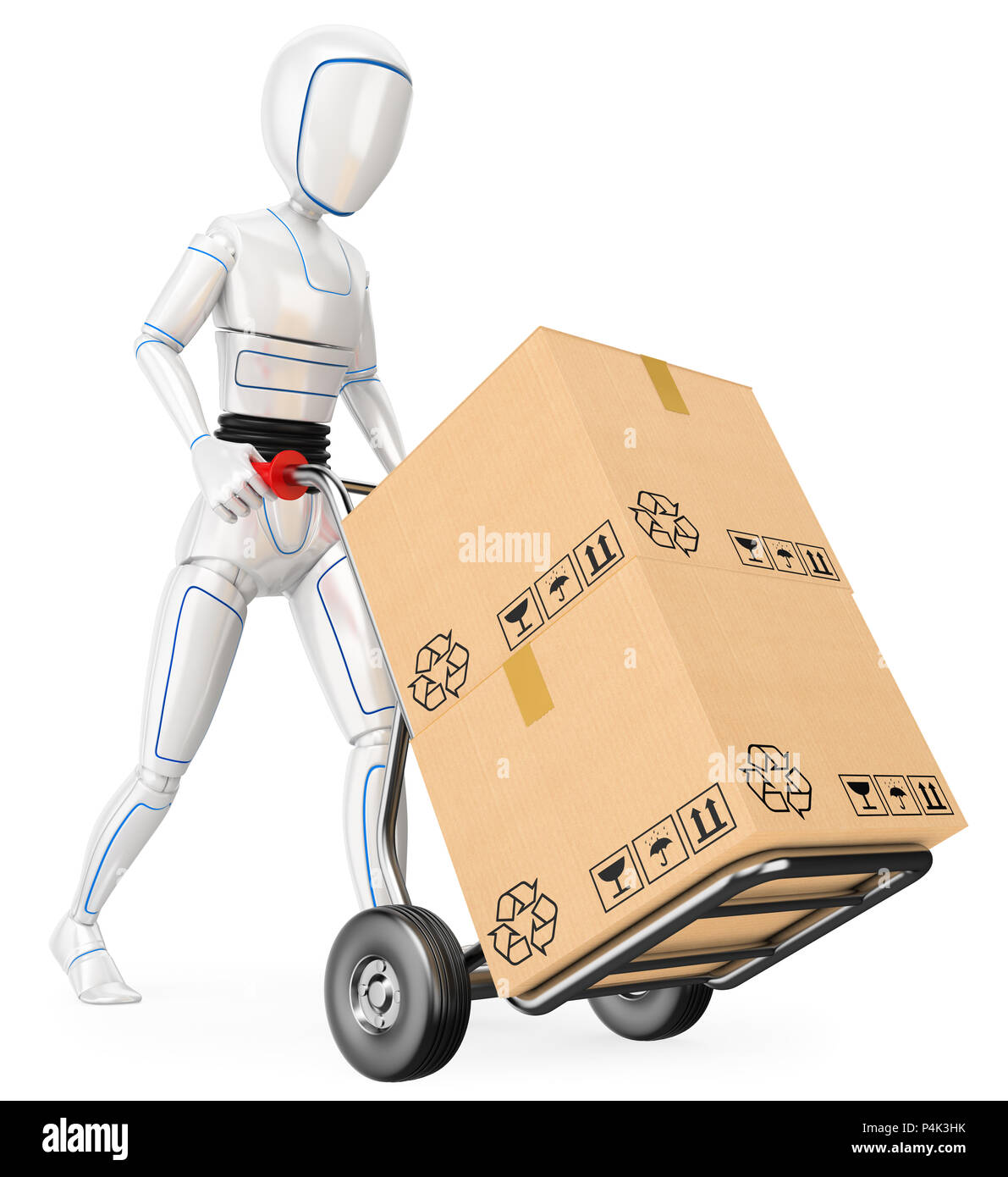 3d futuristic android illustration. Humanoid robot pushing a cart with cardboard boxes. Isolated white background. - Stock Image