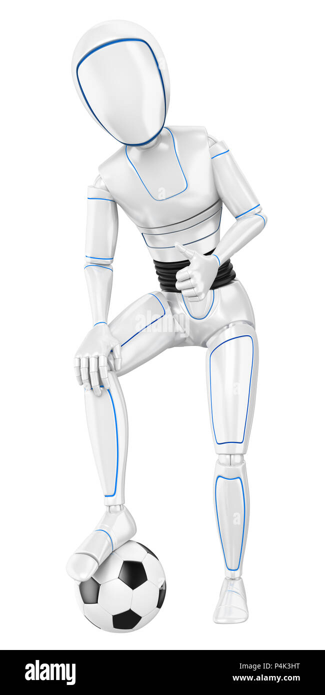 3d futuristic android illustration. Humanoid robot with a football ball and thumb up. Isolated white background. - Stock Image