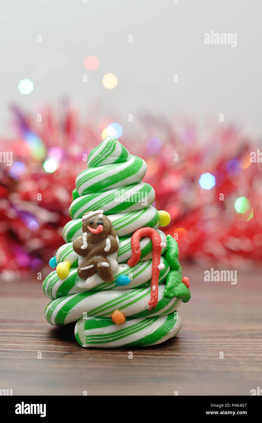 Candy Cane Christmas Tree.A Candy Cane Christmas Tree Displayed With Out Of Focus