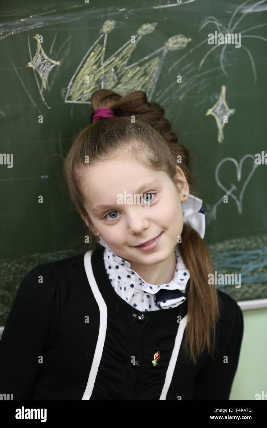 Belarus, Gomel, February 24, 2016, high school sixty, open lesson. Portrait of a schoolgirl of primary school - Stock Image