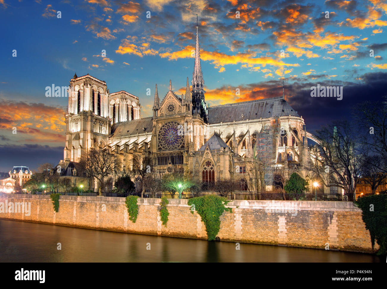 Notre Dame Cathedral at dusk in Paris, France - Stock Image
