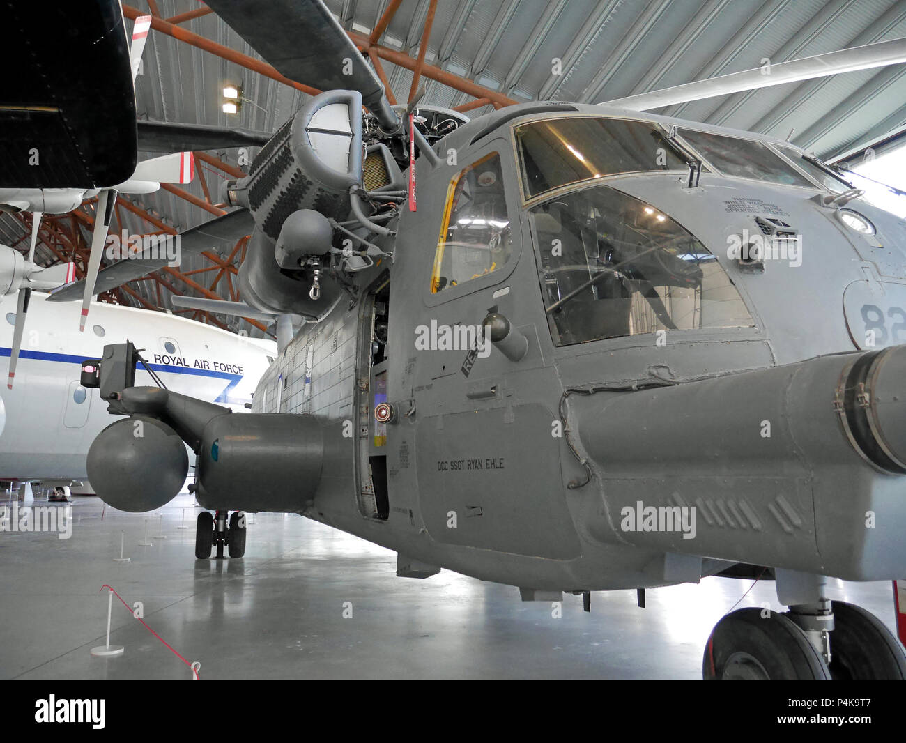 Sep- 30 2016 at RAF Cosford, Royal Air Force Museum, UK. Sikorsky HH-53C 'Stallion' Helicopter Converted to MH-53J PAVE System. - Stock Image