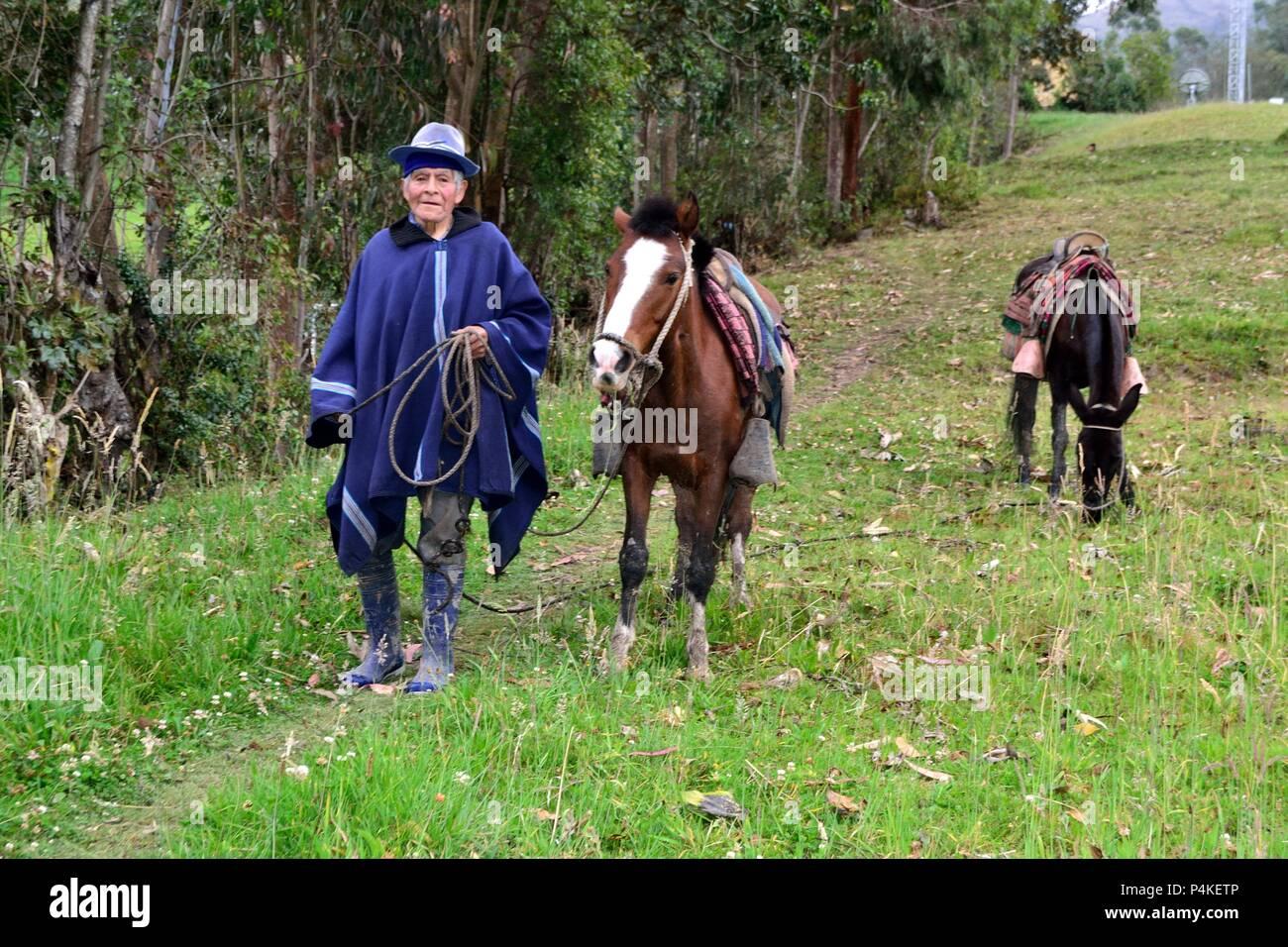 Farmer in HUARHUAR ' Las Huaringas '  - HUANCABAMBA.. Department  of Piura .PERU                  - Stock Image
