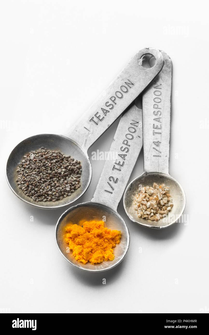 Metal Measuring Spoon Set with Assorted Spices - Stock Image