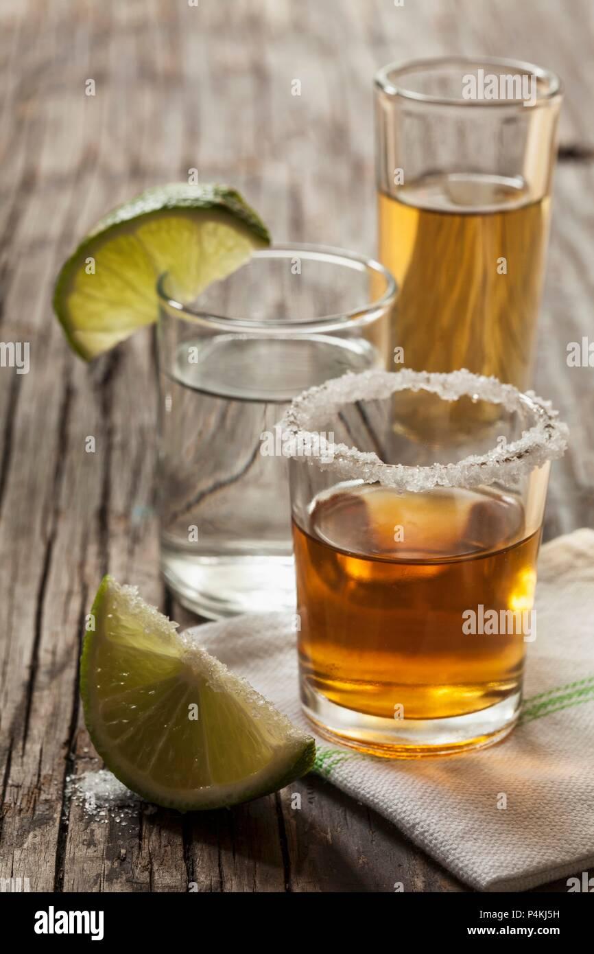 Tequilla shots: blanco, joven and reposado - Stock Image