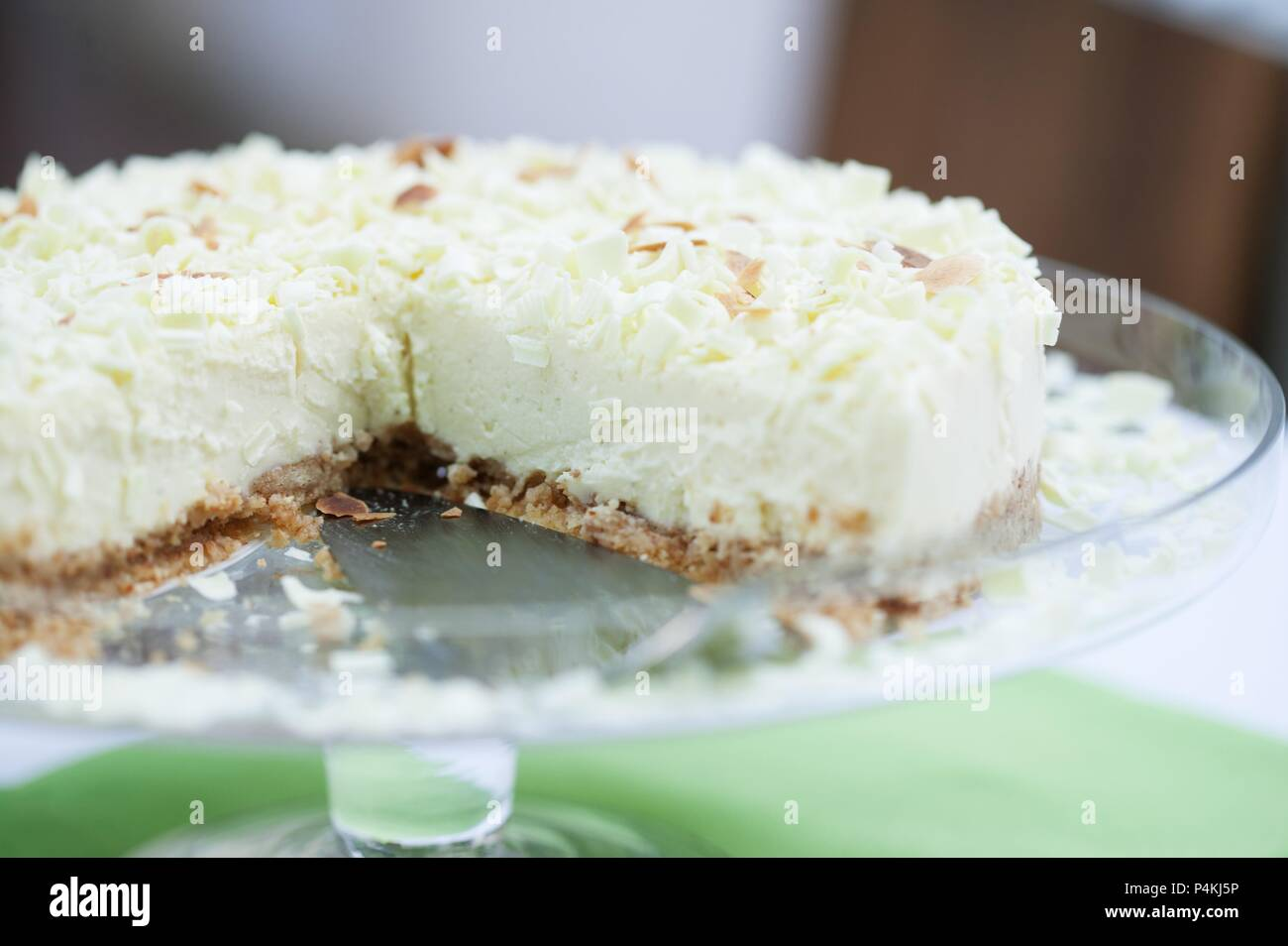White chocolate tart - Stock Image
