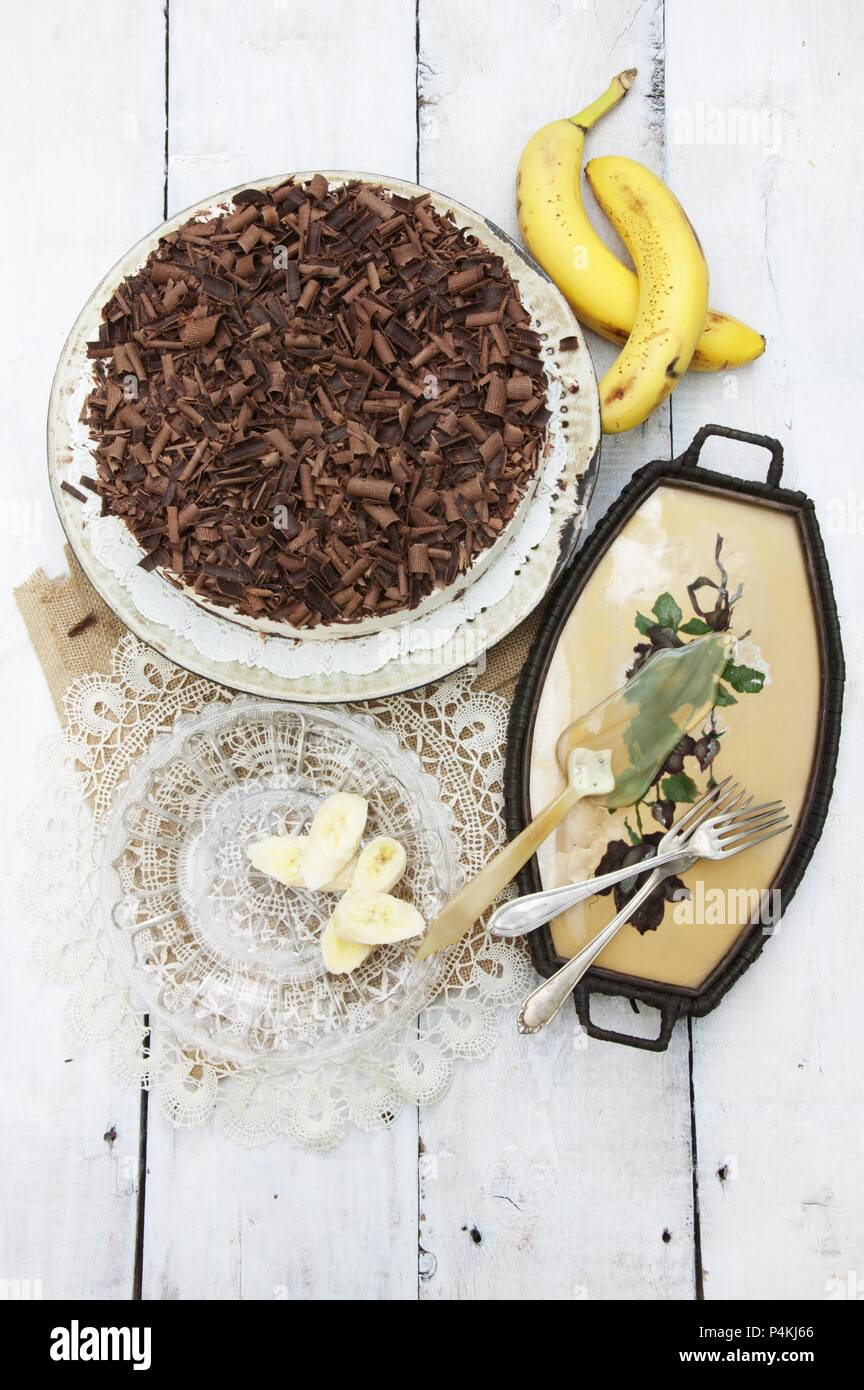 Banana and chocolate cake with low-fat quark - Stock Image