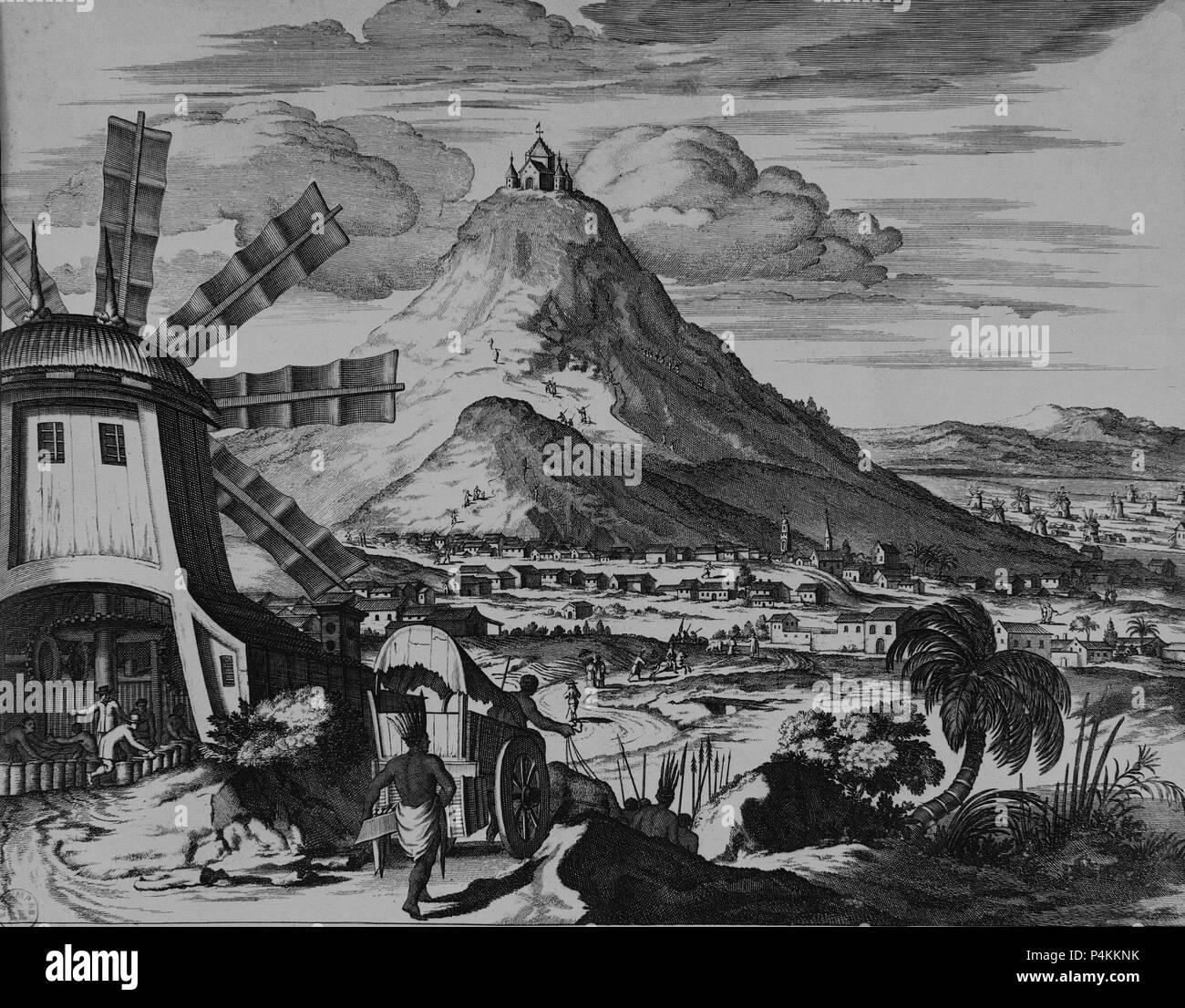 VISTA DE POTOSI - SIGLO XVII. Author: John Ogilby (1600-1676). Location: BIBLIOTECA NACIONAL-COLECCION, MADRID, SPAIN. - Stock Image