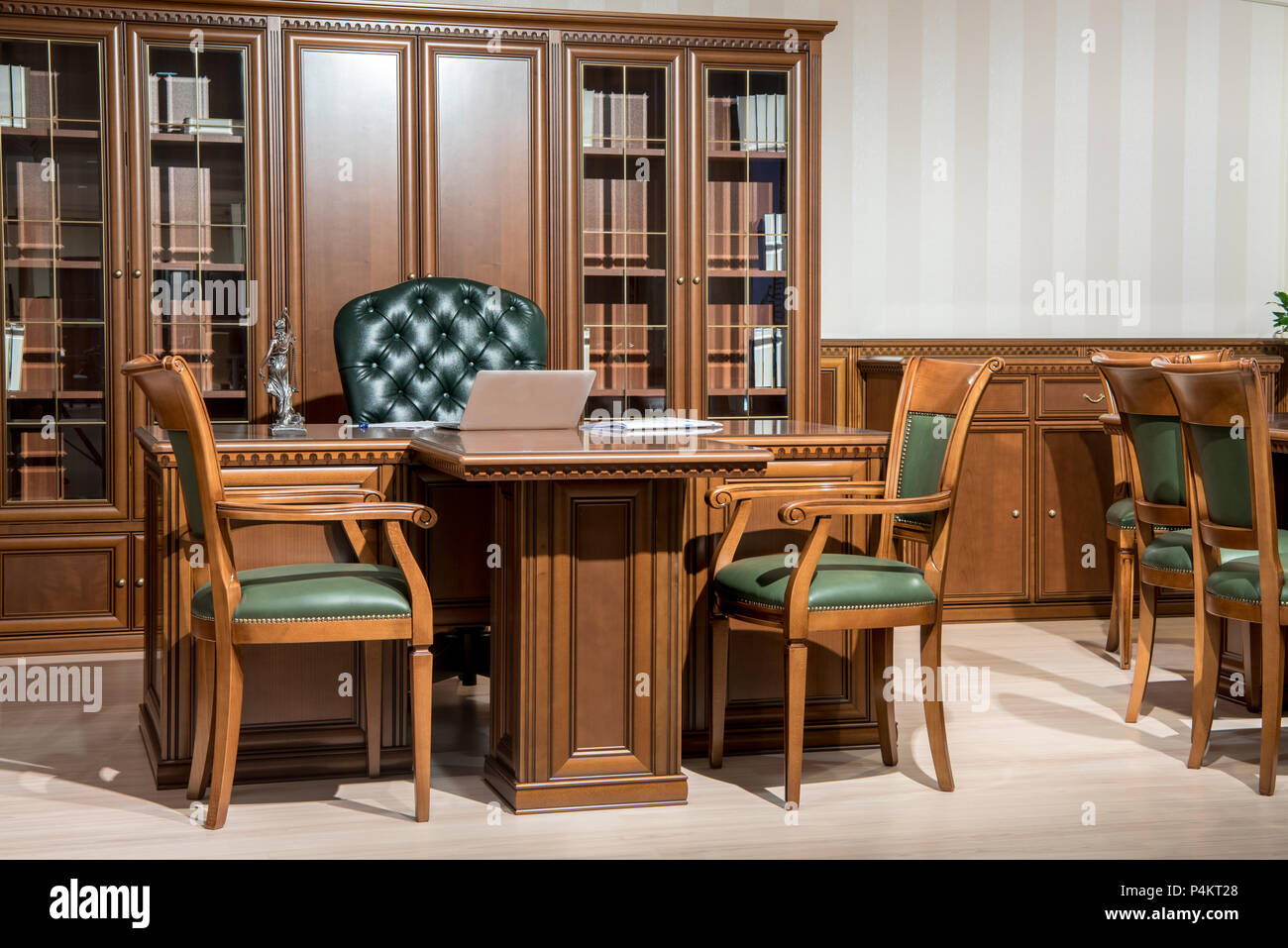 Picture of: Interior Of Office Room With Chairs And Laptop On Wooden Table In Classic Design Stock Photo Alamy