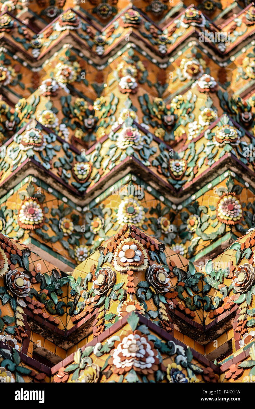 patterns and details on a buddhist temple in thailand stock photo
