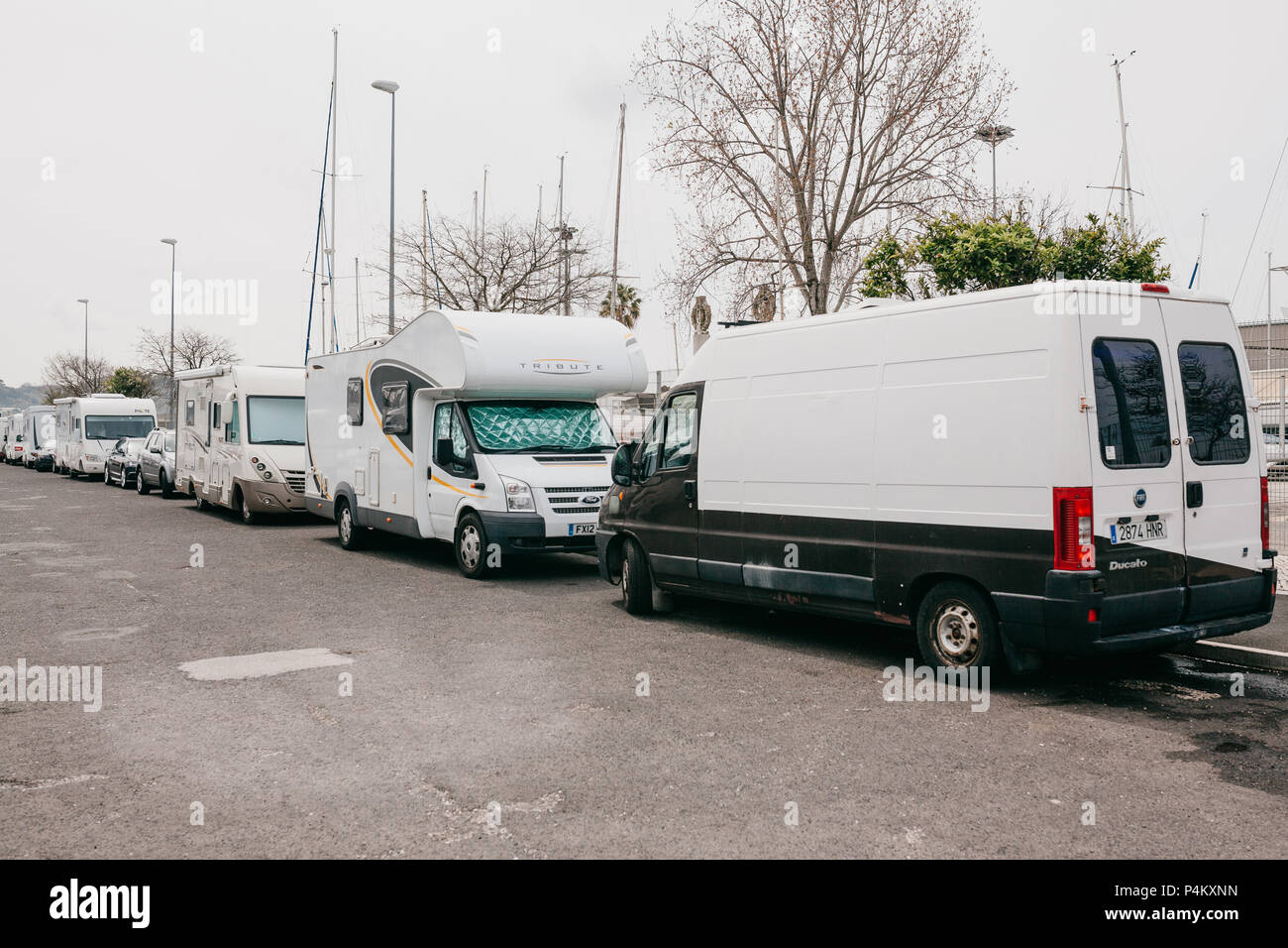 Lisbon, June 18, 2018: Parking trailers near the waterfront in the Belem area. Traveling on a house on wheels - Stock Image