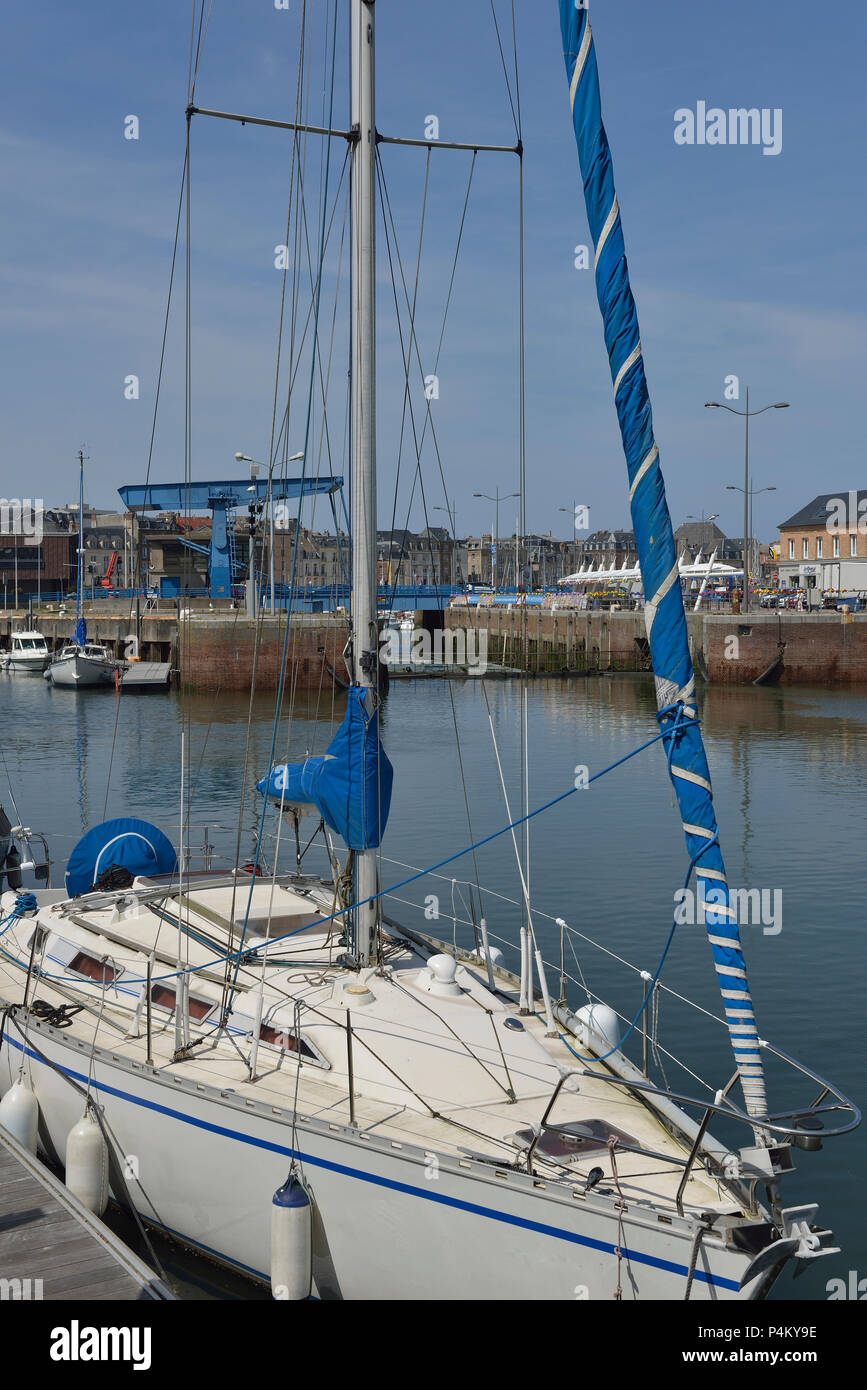 Waterfront and Ango Bridge, Dieppe, Normandy, France - Stock Image
