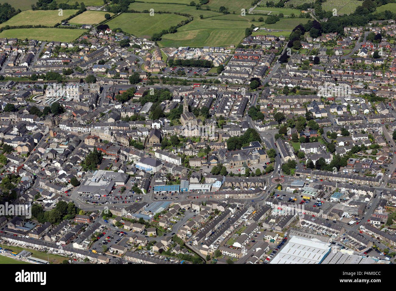 aerial view of Clitheroe town centre, Lancashire, UK - Stock Image