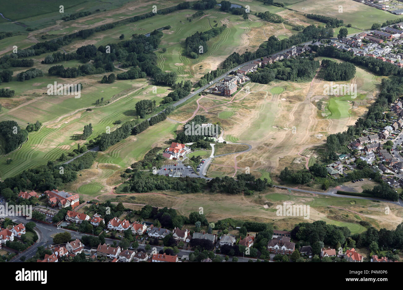aerial view of Hesketh Golf Club links course, Southport, Lancashire - Stock Image