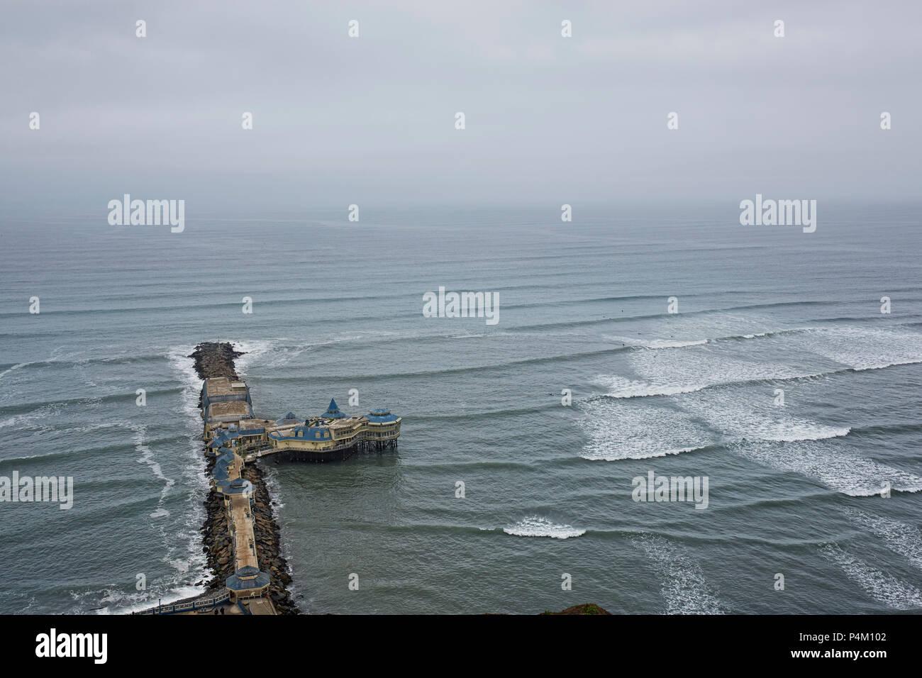Rosa Nautica Restaurant on pier, Lima Bay, Miraflores, Lima, Peru - Stock Image