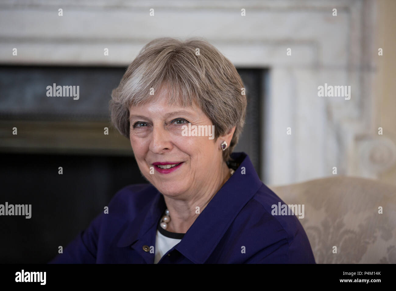 Theresa May, United Kingdom Prime Minister, photographed at No.10 Downing Street, during a visit by Jens Stoltenberg, NATO General Secretary. - Stock Image