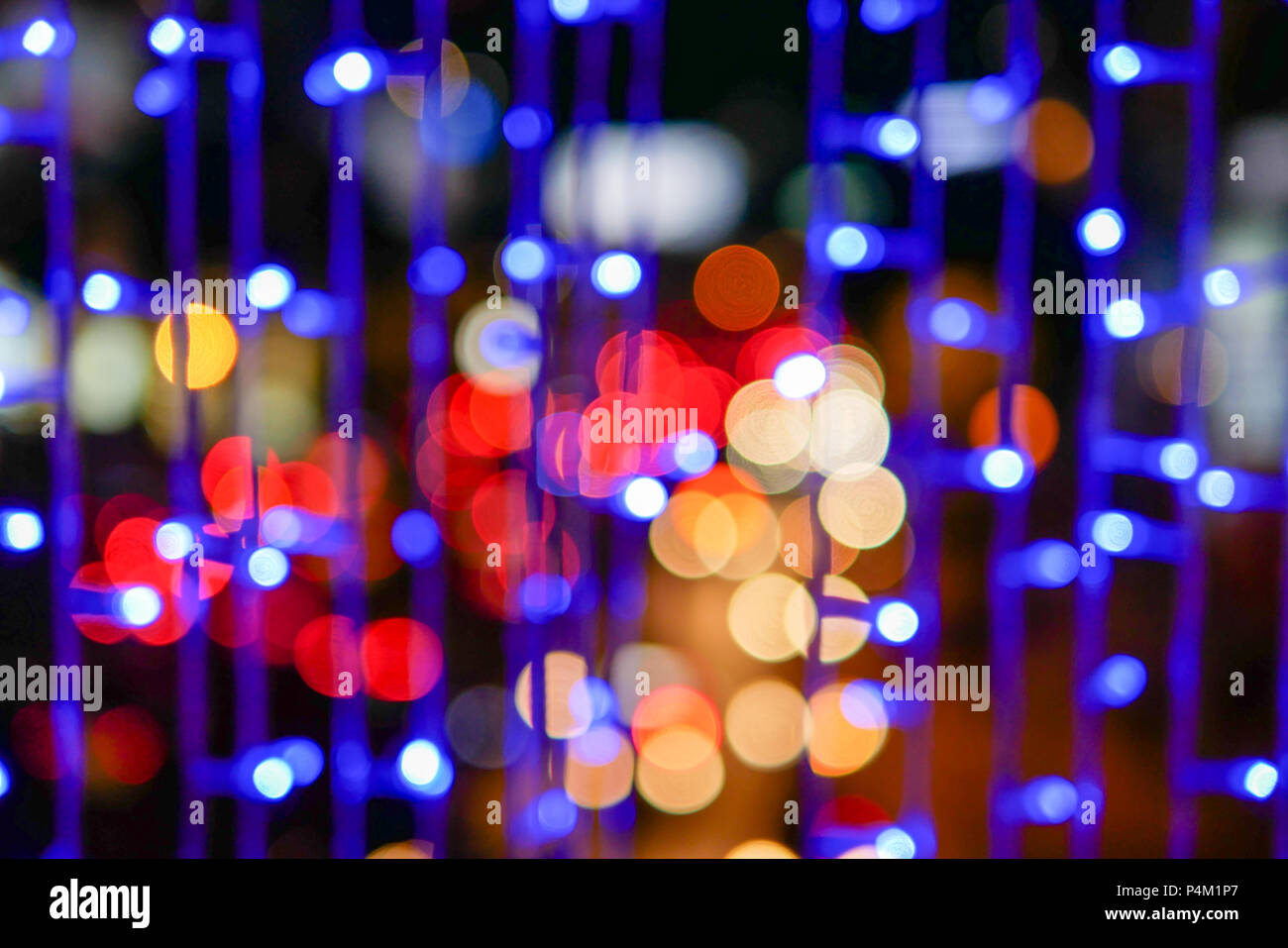 Defocused Of Beautiful Urban Abstract Texture Bokeh City Lights And Traffic Jams In The Background With Blurring Lights In The City Stock Photo Alamy