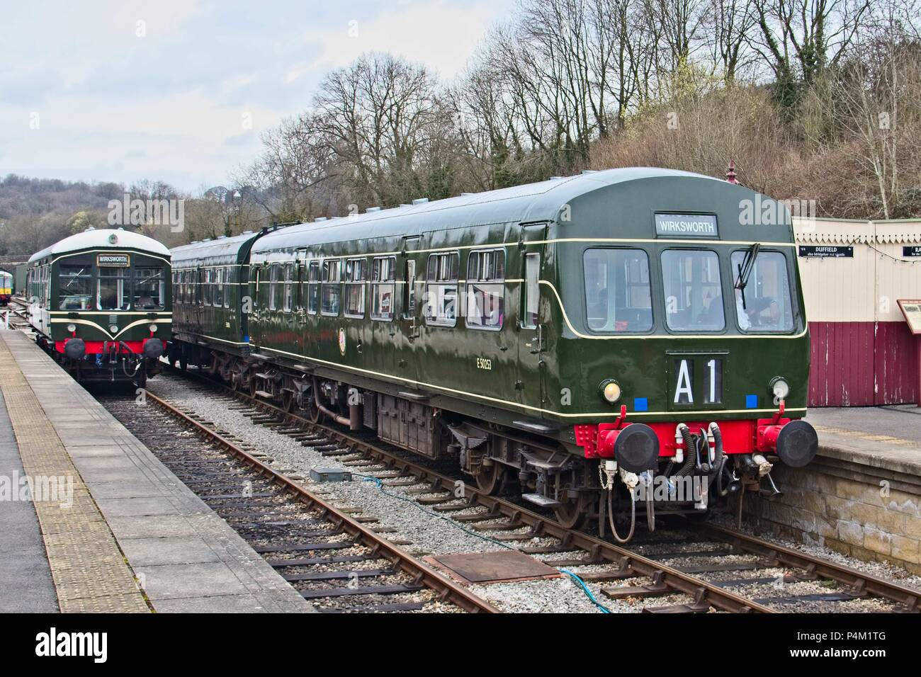 DMU 101 driving motor brake on the Ecclesbourne Valley Railway at Wirksworth in the station. - Stock Image