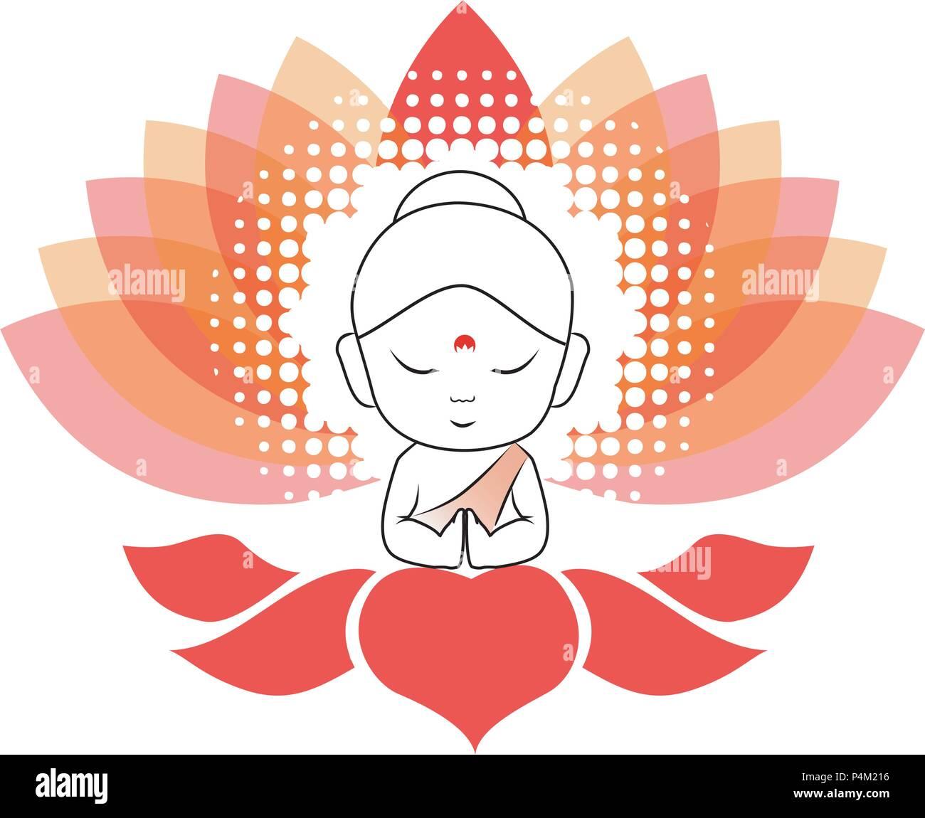 Little Buddha meditating on a lotus flower - Stock Vector