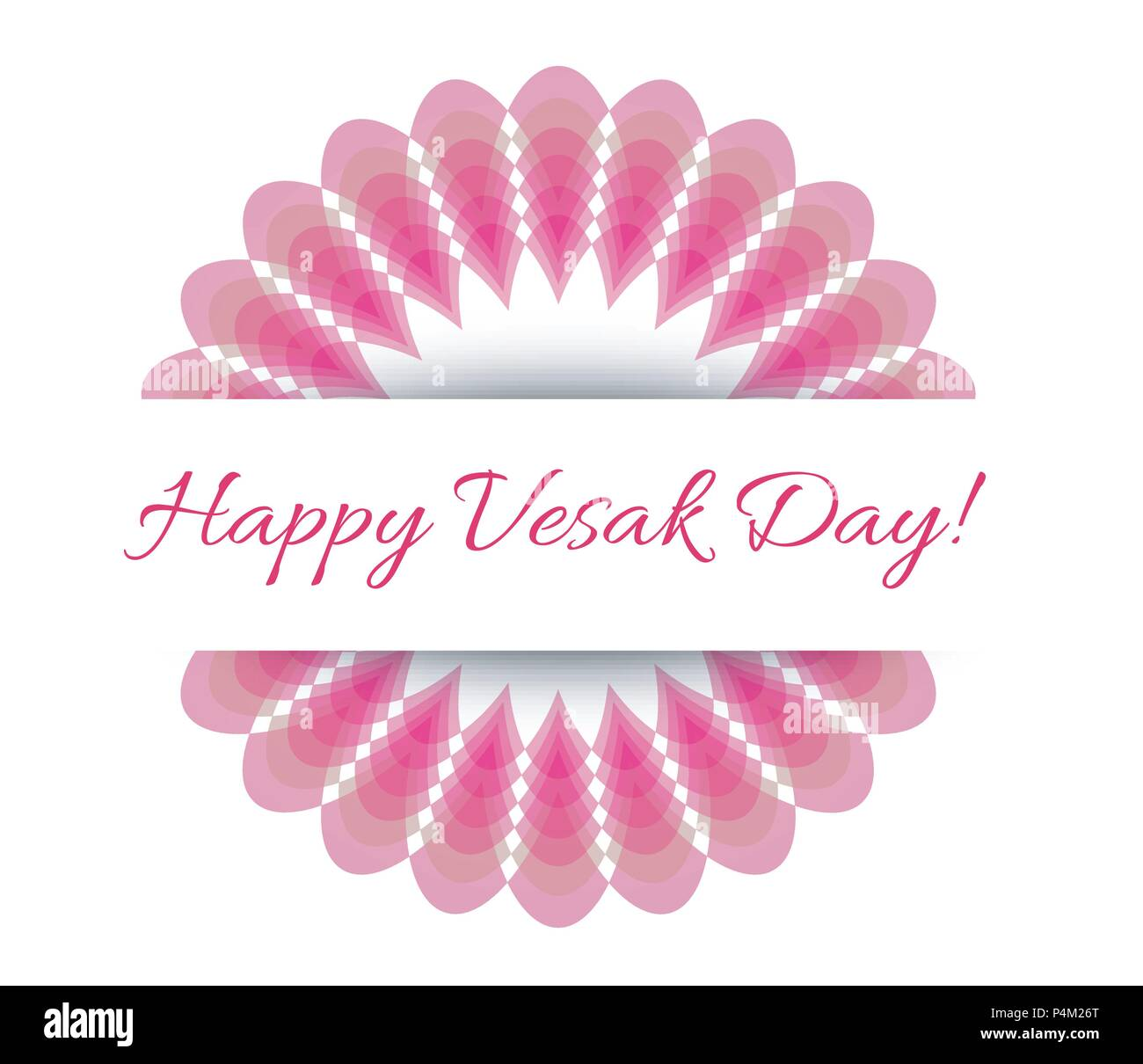 Vesak day card with pink lotus. Lotus is associated with fortune according to Buddhism - Stock Image