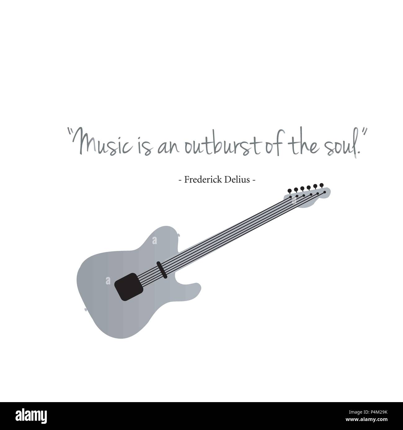 Guitars with a famous quote. Music is an outburst of the soul by Frederick delius Stock Vector