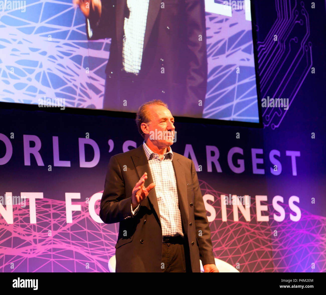 Sir George Zambellas,  Board of Directors, Agorai, speaking at the AI Summit, 2018, ExCel,  London - Stock Image