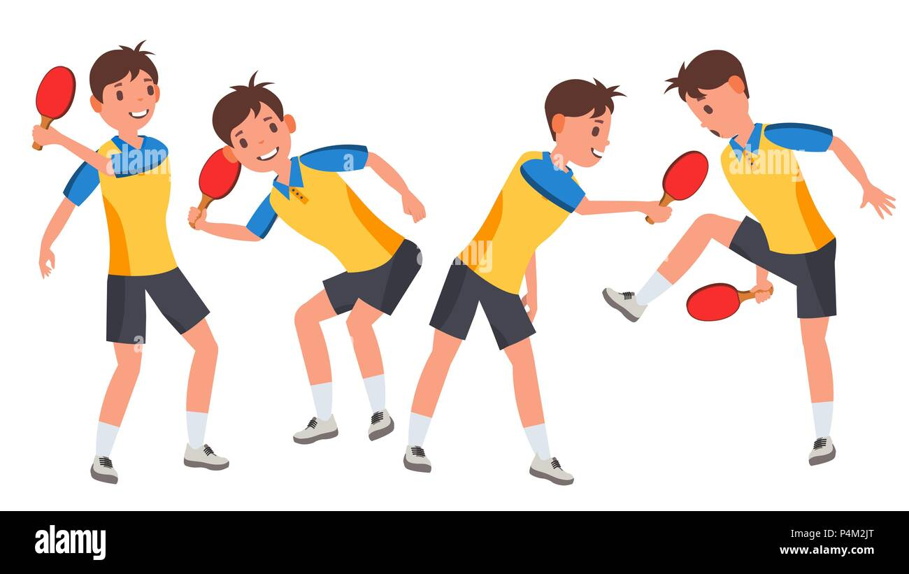 Table Tennis Male Player Vector. Playing In Different Poses. Game Match. Silhouettes. Man Athlete. Isolated On White Cartoon Character Illustration - Stock Image