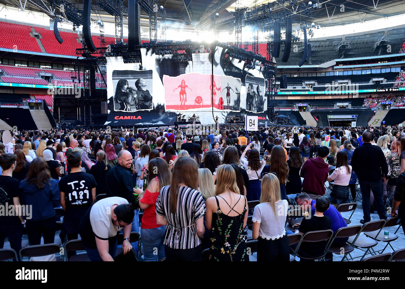 Fans Watch Camila Cabello Performing On Stage During The Taylor Swift Reputation Stadium Tour At