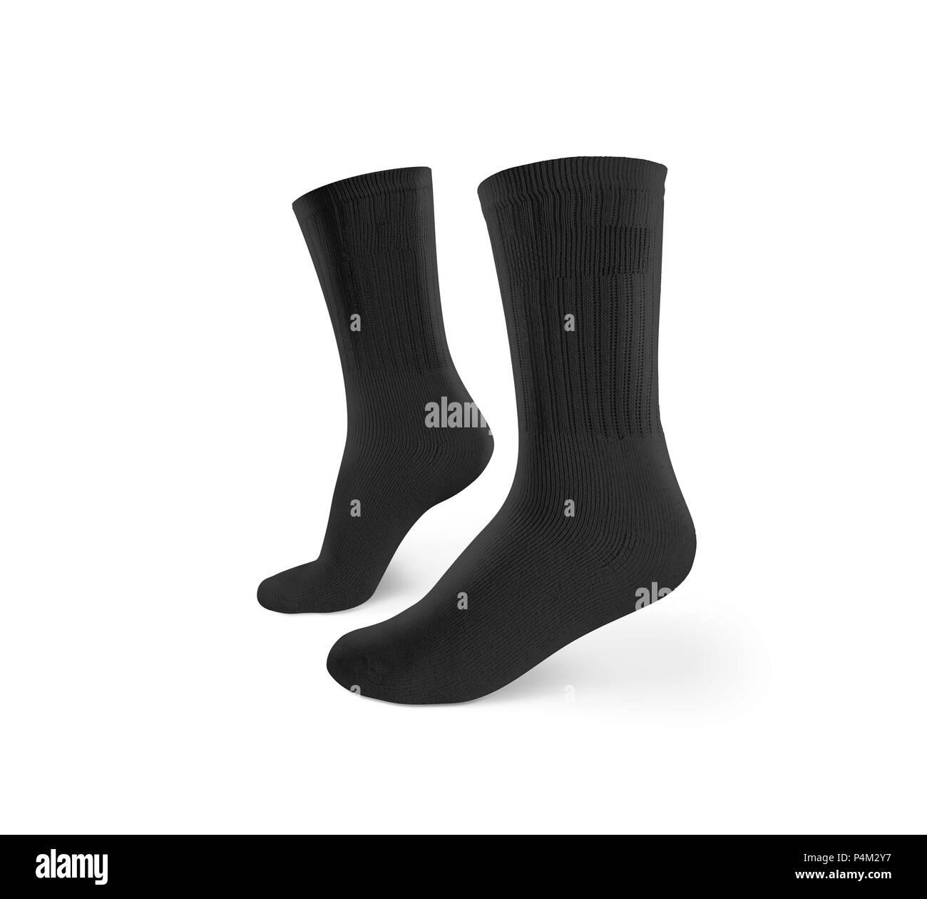 blank black socks design mockup isolated clipping path pair sport