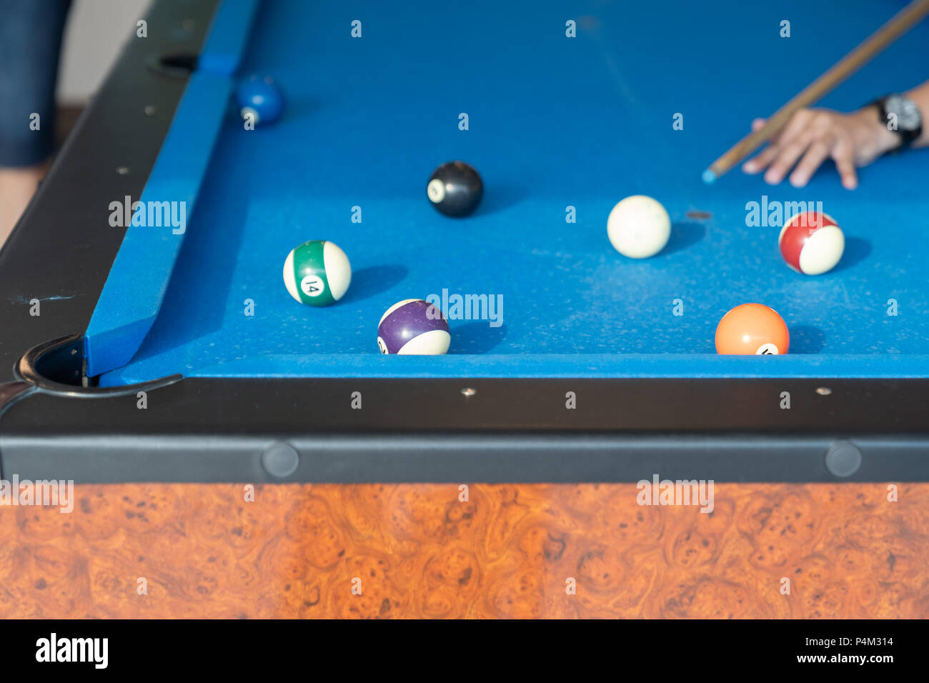 Vintage Pool Ball On Blue Table Background Stock Photo - Electronic pool table