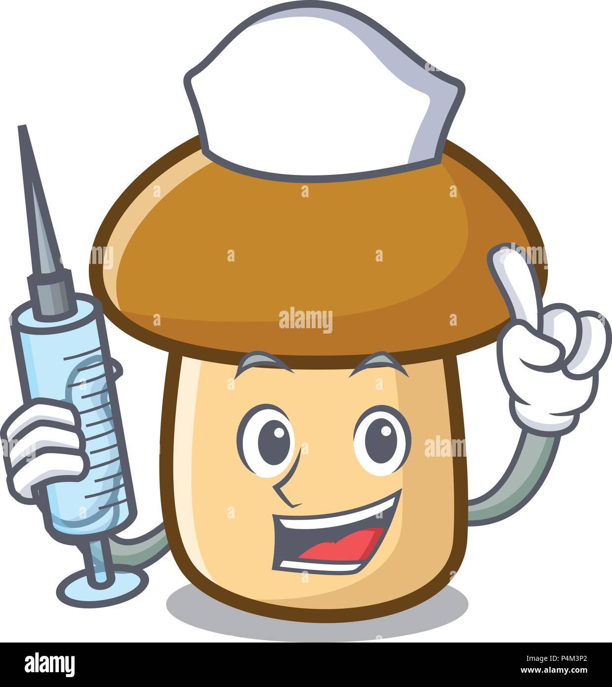 Nurse porcini mushroom character cartoon - Stock Vector