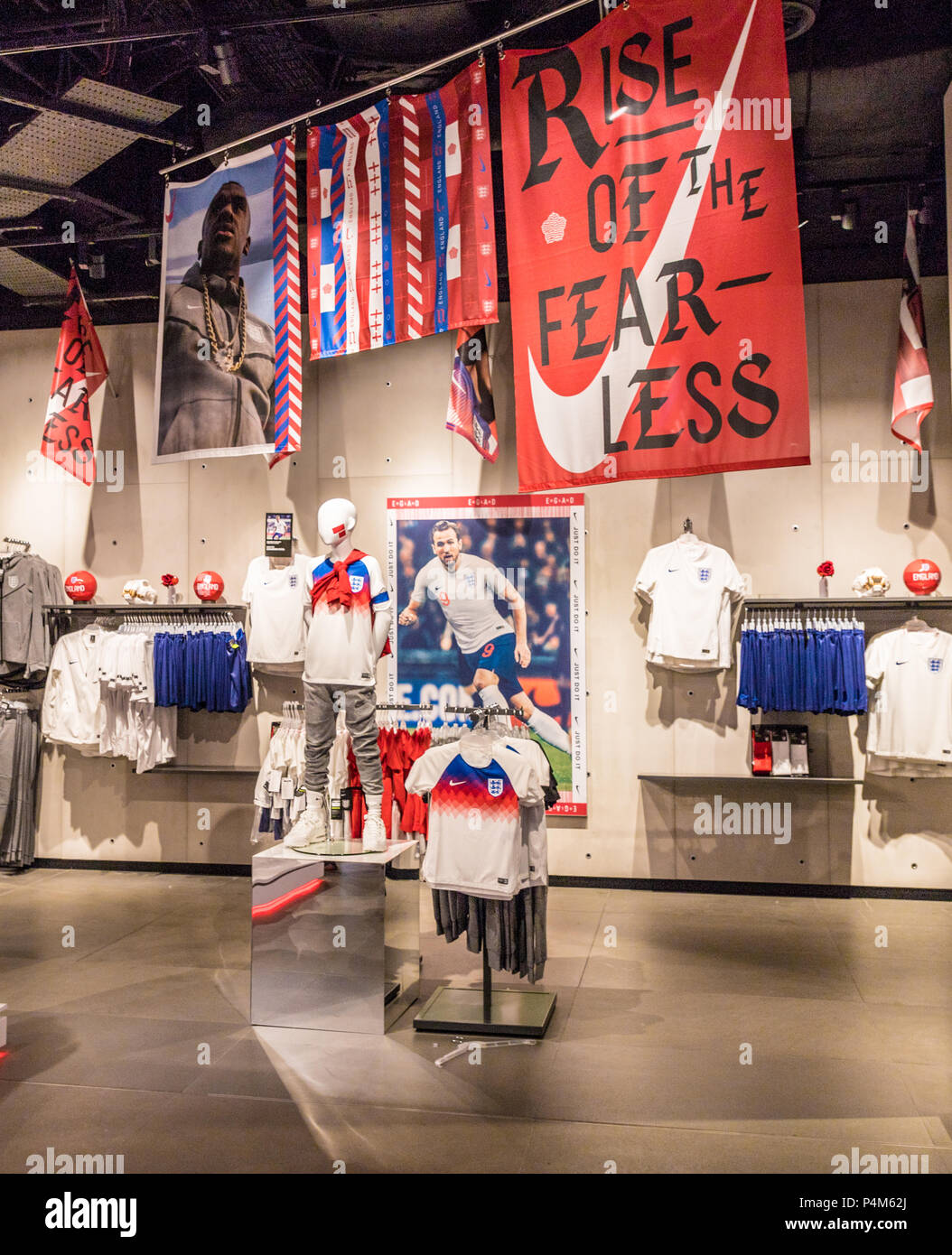 c5e24ab3e6bc London. June 2018. A view of the England football kits in the Nike town