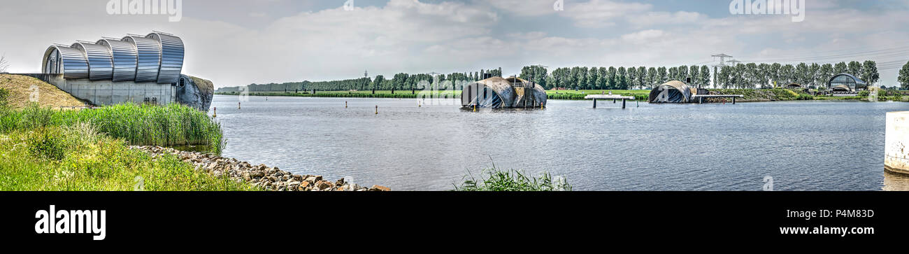 Inflatable barrage (bellow dam) Ramspolstuw near the city of Kampen, The Netherlands - Stock Image