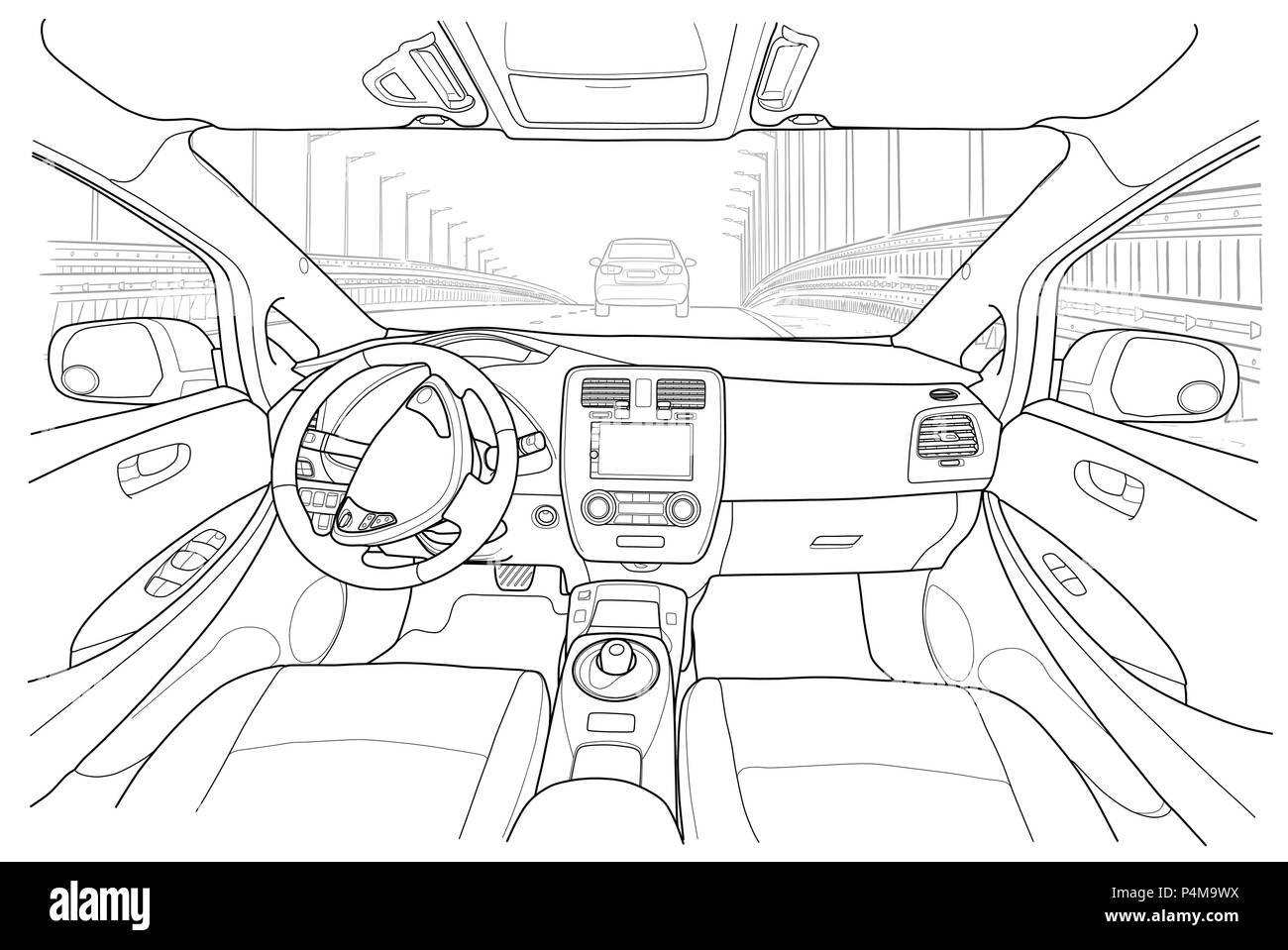 The Machine Inside The Interior Of The Electromobile Vehicle With Automatic Transmission Vector Illustration Of The Lines Stock Vector Image Art Alamy