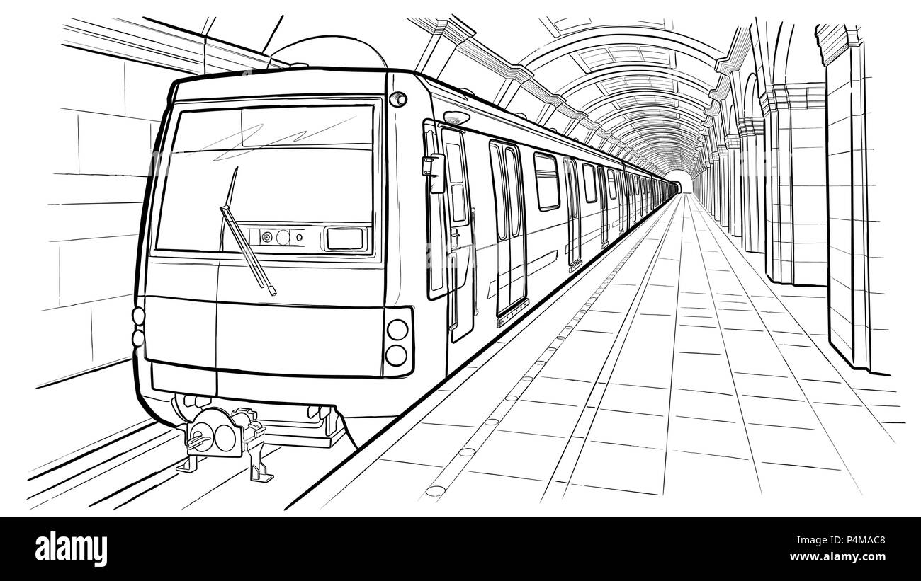 Hand drawn ink line sketch Saint Petersburg subway station, train in outline style perspective view. Stock Vector