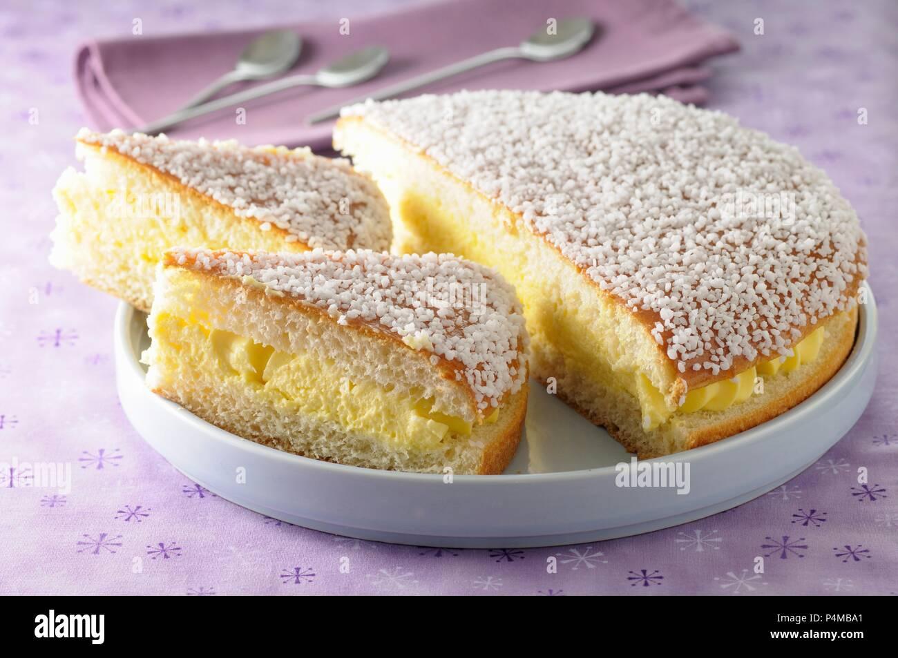 Tropézienne (traditional St. Tropez cake, France) - Stock Image