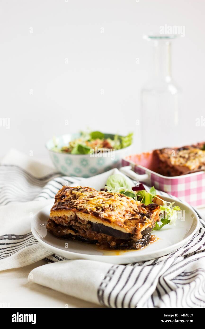 Moussaka on a plate - Stock Image