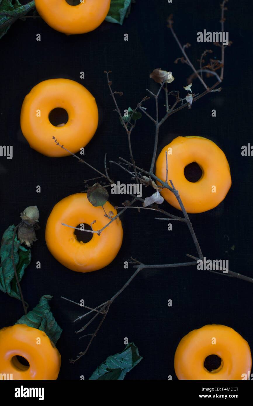 pumpkin doughnuts for halloween stock image