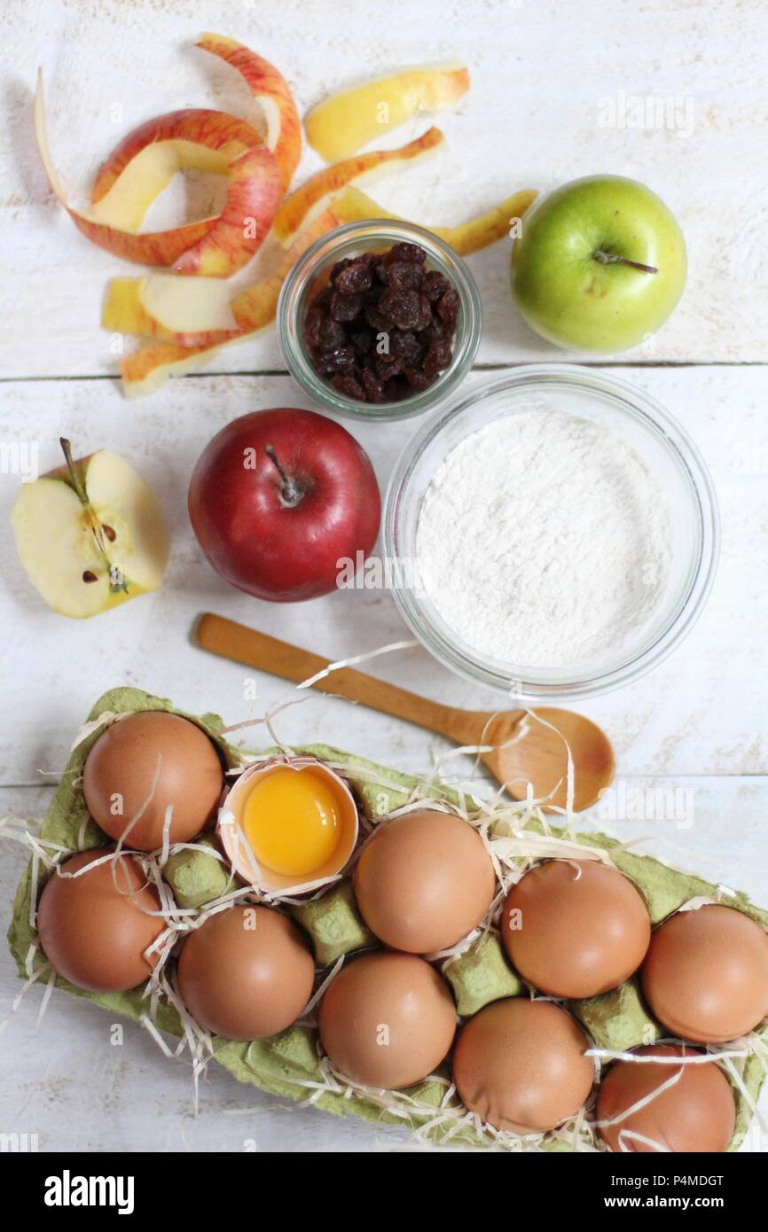 Ingredients for apple cake Stock Photo