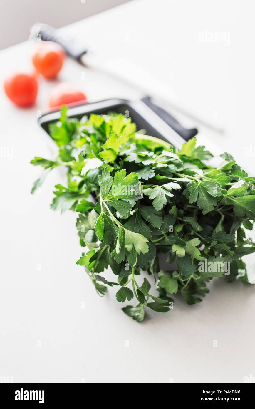 Fresh parsley on a white kitchen table with three tomatoes and a knife - Stock Image