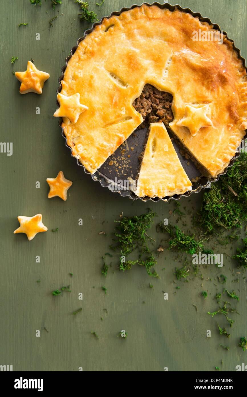 Christmas meat pie - Stock Image