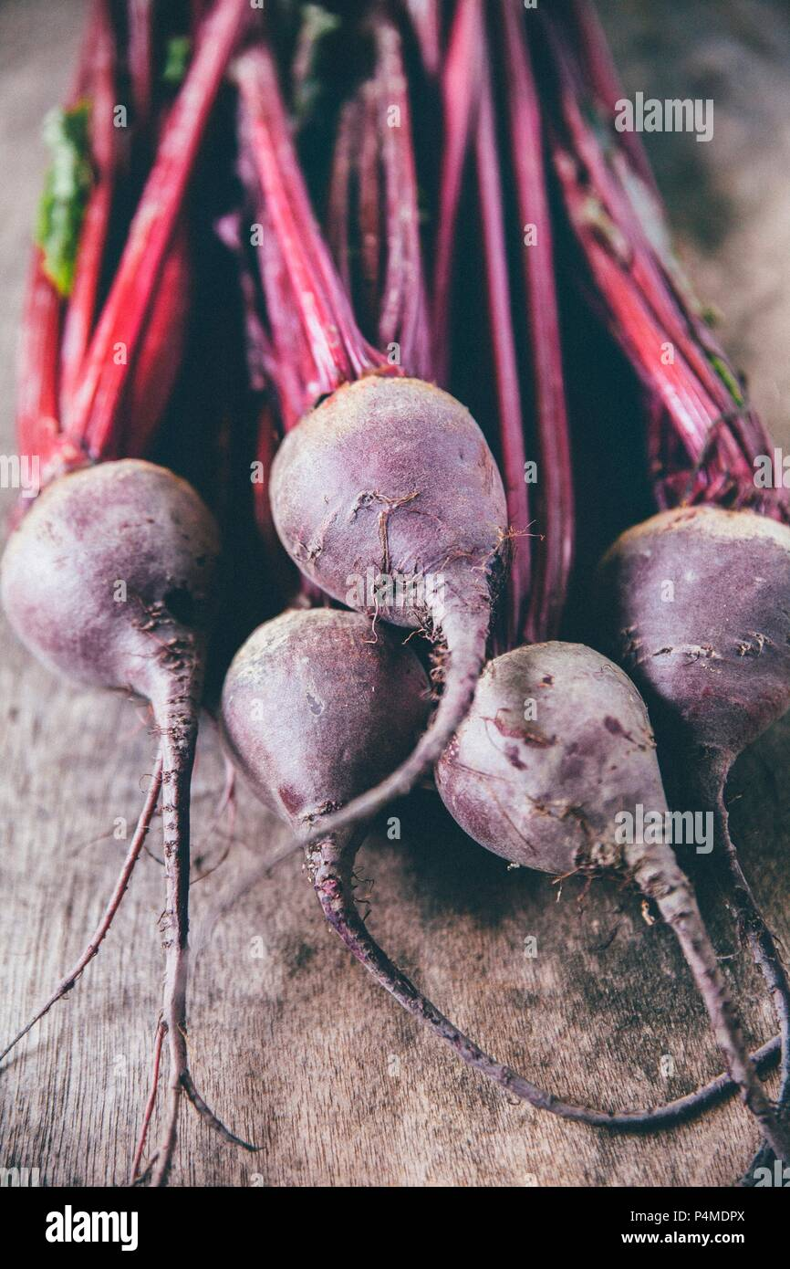Beetroot on a wooden surface - Stock Image