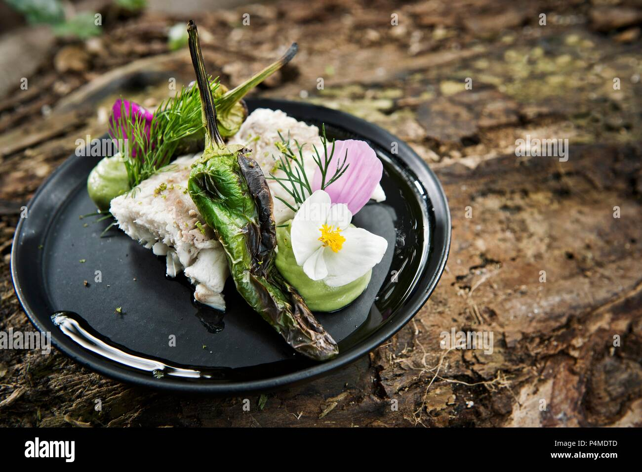 A fish fillet with grilled chillies served with flowers on a camping plate - Stock Image