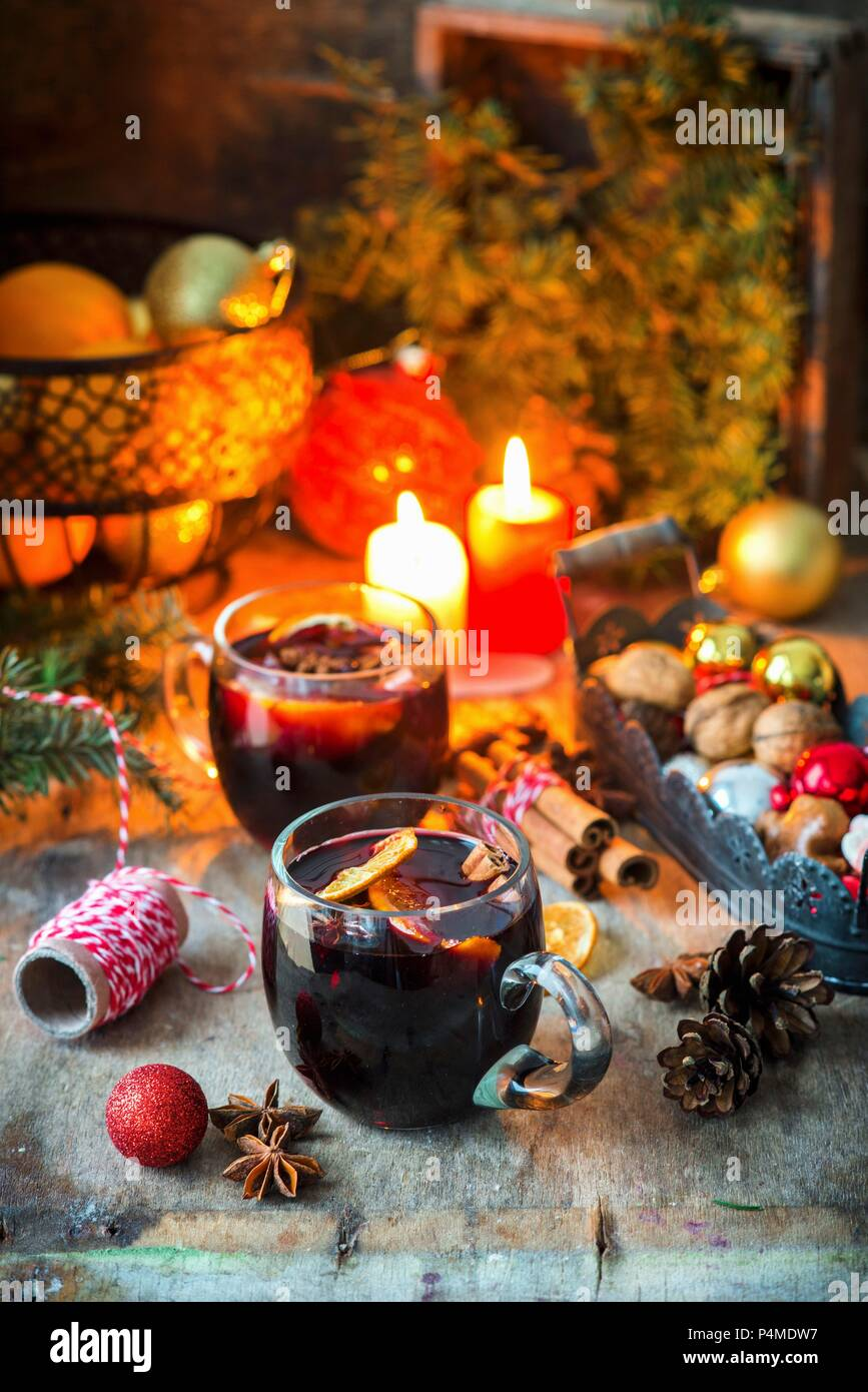 Mulled wine on a festively set table - Stock Image
