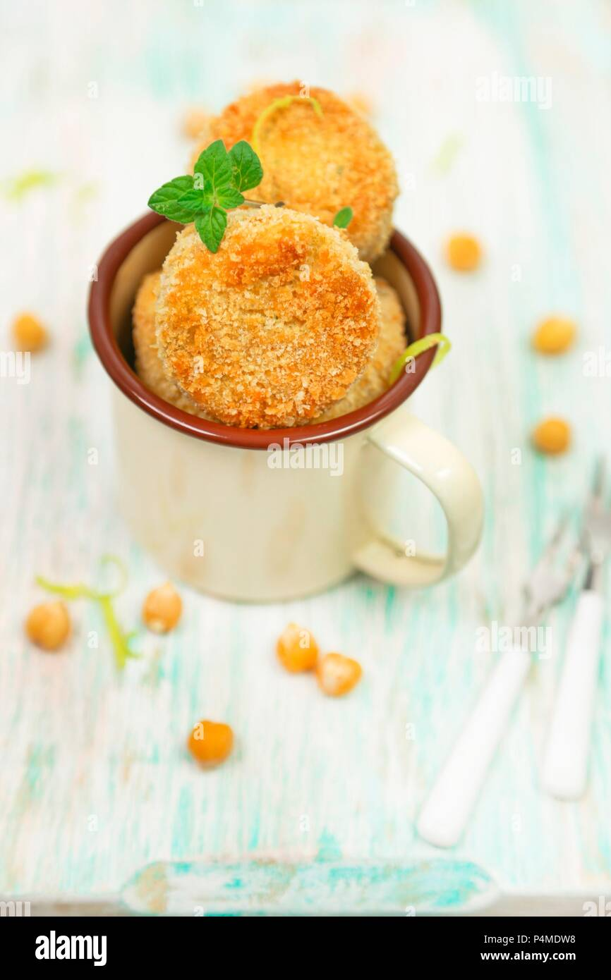 Chickpeas and lemon meatballs Stock Photo