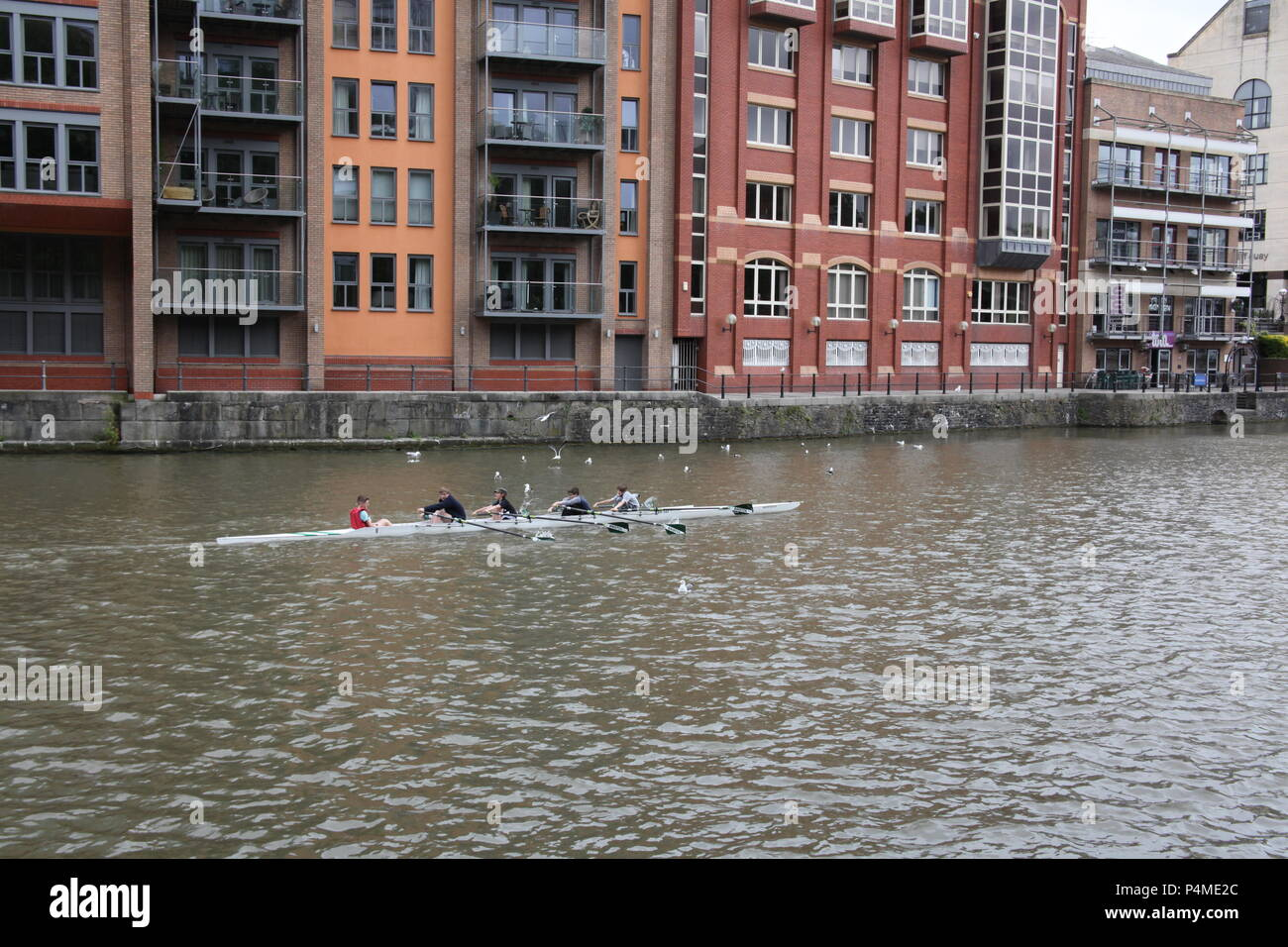 Children rowing on the River Avon, Bristol, England. - Stock Image